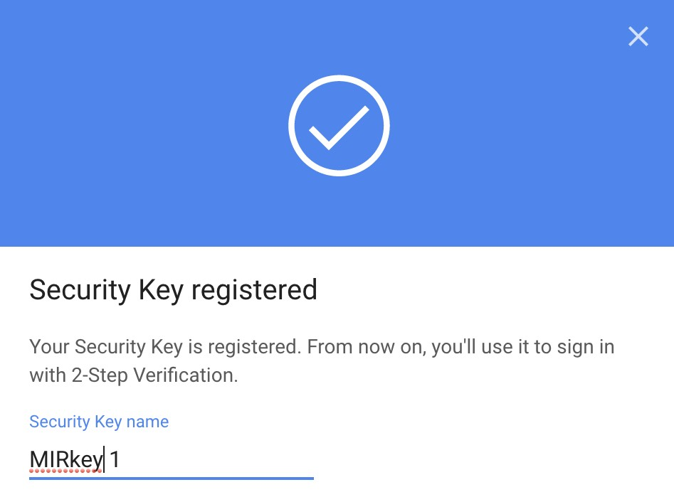 Google security key registered