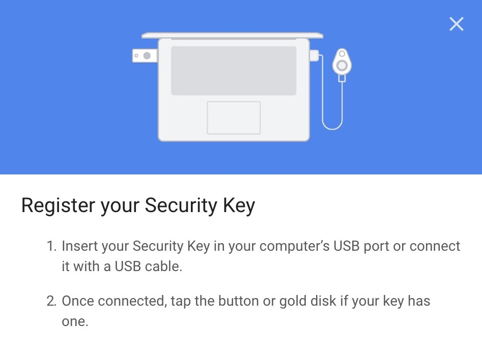 Google register security key
