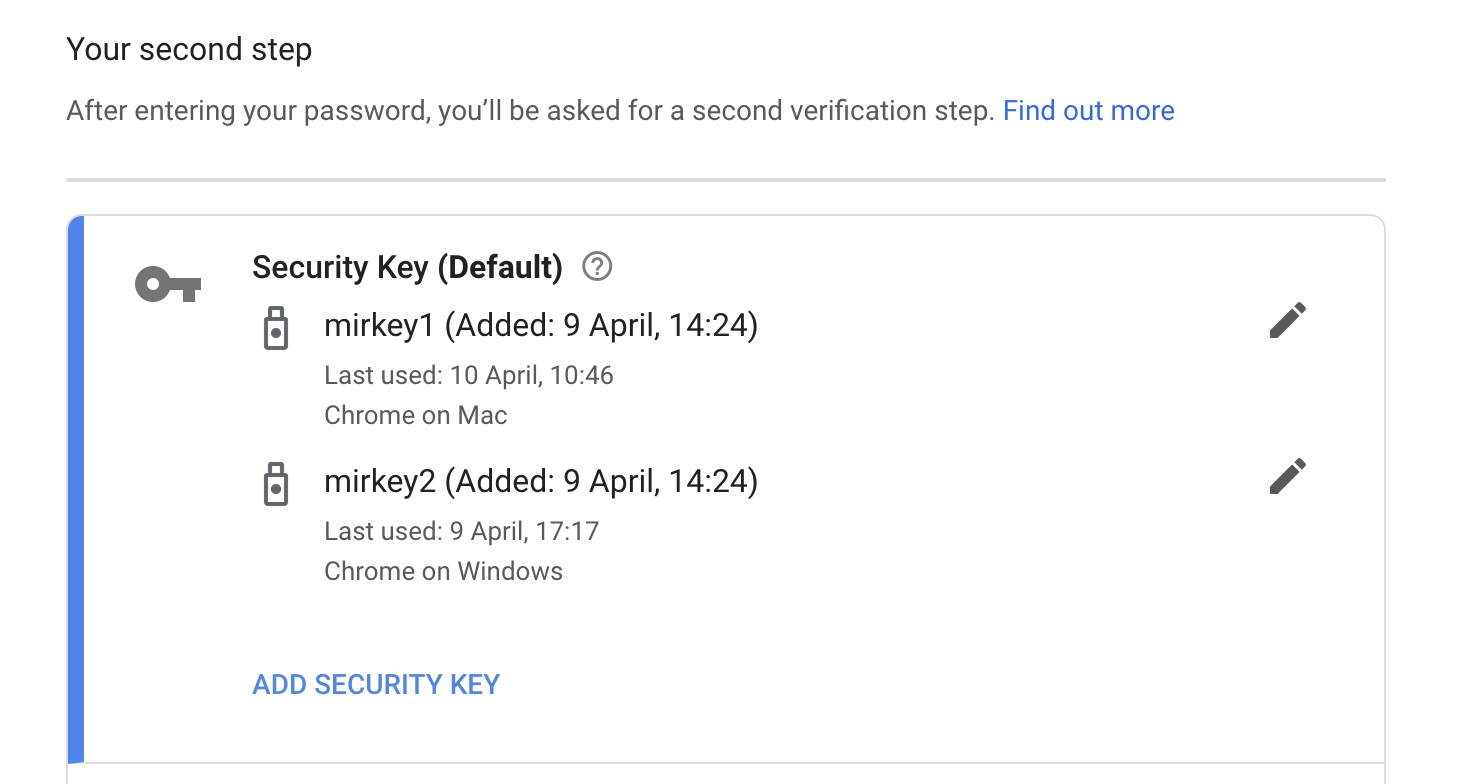 Google security key select